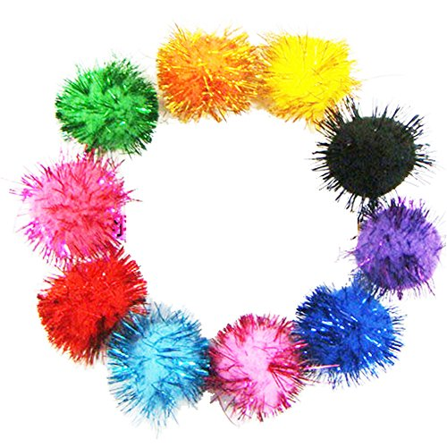 RIMOBUL Assorted Color Sparkle Balls My Cat's All Time Favorite Toy - 1.5' - 20 Pack