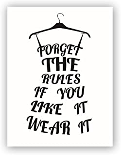 """Homdeco Black Fashion Dress Art Print Set of 1 (12""""X16"""") Forget The Rules If You Like It Wear It Inspirational Lettering Printing for Girls Gift,Vogue Minimalist Canvas Wall Art, No Frame"""