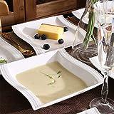 MALACASA, Serie Flora, 56 TLG. CremeWeiß Porzellan Geschirrset Kombiservice Tafelservice mit je 6 Schälen, 6 Tassen, 6 Untertassen, 12 Dessertteller, 12 Suppenteller, 12 Speiseteller und 2 Platte - 6