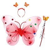 BESTOYARD 3PCS Girls LED Fairy Butterfly Wings with Headband and Fairy Wand (Red)