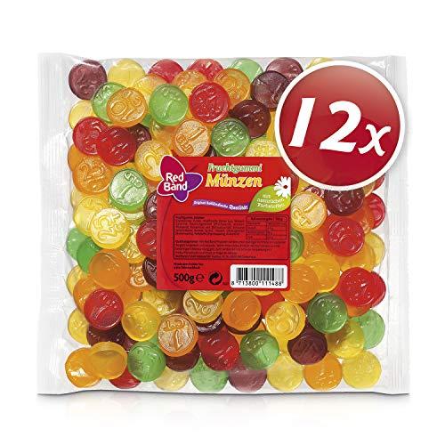 Red Band Fruchtgummi Münzen, 12er Pack (12 x 500 g Beutel)