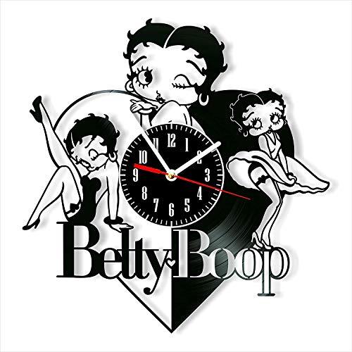 YYIFAN Horloge murale numérique à quartz en vinyle 30,5 cm Betty Boop, moderne et créatif, cadeau unique fait à la main, décoration murale d'intérieur
