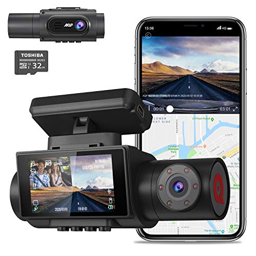 AQP 4K Dual Dash Cam, 3840x2160P Ultra HD Front and 1080P Inside Car Dash Camera, Built-in GPS WiFi Dual Sony Sensors IR Night Vision Parking Monitor G-Sensor 32G SD Card for Cars Truck Taxi