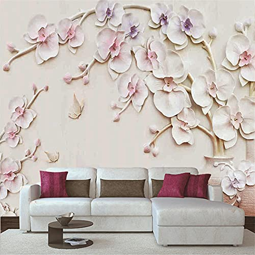 Papel Pintado 3D Murales 200x150 cm - 4 tiras- Fotomurales para Salón Natural Landscape Foto Mural Pared, Dormitorio Corredor Oficina Moderno Festival Mural Flor de cerezo rosa