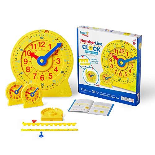 Hand2mind Kit de clases de reloj de números para niños de 5 años en adelante, transforma una línea numérica en un reloj, manera...