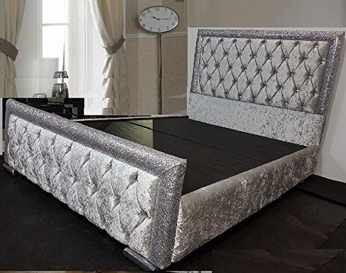mm08enn Crushed velvet Upholstered Glitter Bed Frame in Size 4ft6 & 5ft with Storage Base(5ft King Size, Ice Silver)