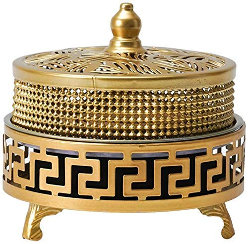 Moskito-Coil-Box, feuerfeste Eisen-Moskitonspulen, Innenmoskito-Sandelholz-Herd, Anti-Moskito-Räucherbrenner mit Deckel, Gold Xping (Color : Gold)