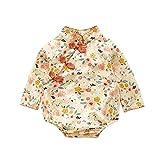 Pelele de flores de manga larga para bebé y niñas, mono de cuello mao, ligero y cómodo, marca francesa, 12/18 m