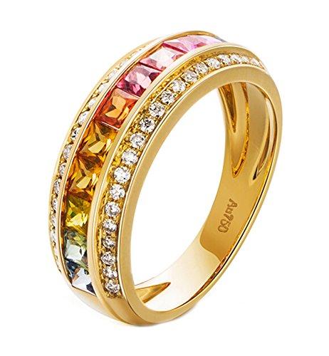 Epinki 18K Oro Anillos,1.5Ct Cuadrado Corte Redondo Certificado Diamante Zafiro...