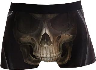 hengpai King Terrors Skeleton Prints Men's Boxer Briefs Soft Underwear Covered Waistband Short Leg