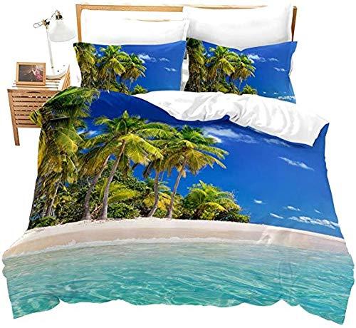 HUA JIE Beach Bedding Ocean Bettbezug für Kinder, Hawaiianische Kokospalme, Tröster, tropische Insel, Meer, Naturmotiv, bedruckt, 3-teiliges Set, blau, Reißverschluss