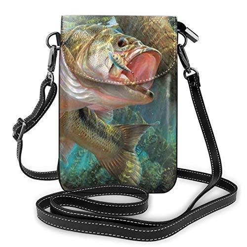 Bolso ligero del teléfono celular del cuero de la PU, bolso pequeño del bolso del crossbody de los pescados del bolso de hombro de la cartera del Pounch del bolso, color Negro, talla Talla única