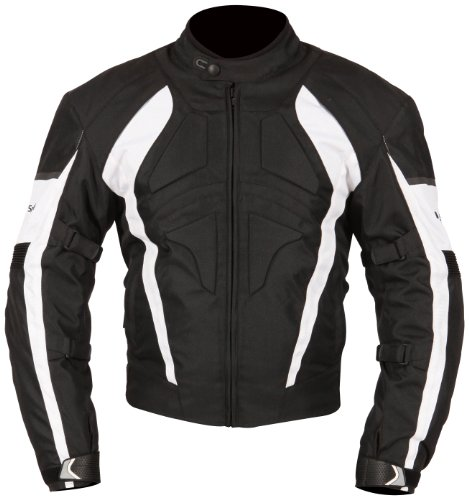 Milano Sport Gamma Motorcycle Jacket with White Accent (Black, Large)
