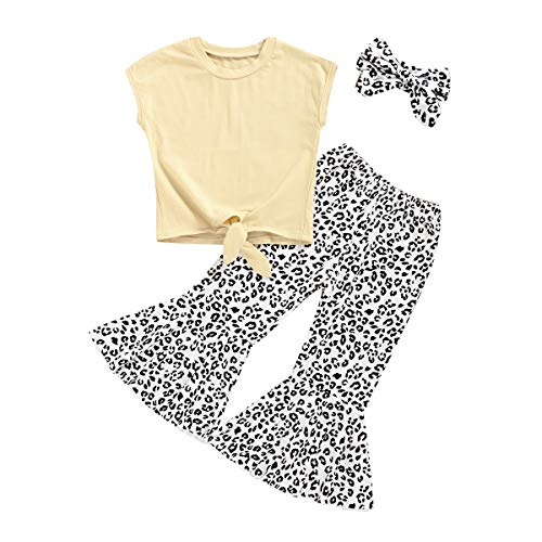 Toddler Baby Little Girls Mermaid TShirt Top Fish Scale Bell Bottom Pant Outfits Sets 2pcs Summer Clothes Yellow T Shirt Top Leopard Bell Bottom Pant 12 Years