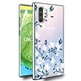 OKZone Cover Galaxy Note 10 Plus [con Pellicola Proteggi Schermo], Custodia Gel Trasparente Morbida Silicone Sottile TPU Cover Protettiva Compatibile con Samsung Galaxy Note 10 Plus (Fiore)