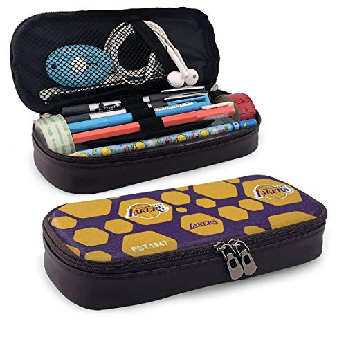 Rico Los Angeles Lakers Pencil Case Big Capacity Waterproof Tool Pouch Zipper Organizer for Teen College Middle School Office Supplies Stationery