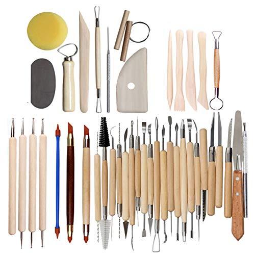 Werkzeuge Ton, Töpferwerkzeuge Modellierwerkzeug aus Holz Ton Töpferei Schnitzwerkzeug für Steinmalerei, Töpferei, Modellierung, Prägung, Nagelkunst, DIY(42)