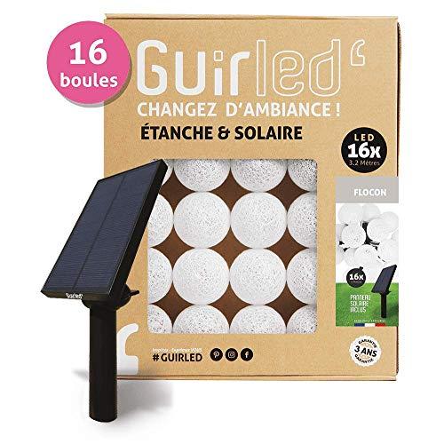 Guirled® Outdoor-Lichterkette, Motiv: 16 leuchtende LED-Kugeln, mit Solarpanel, wasserdicht, mit Helligkeitssensor Flocon