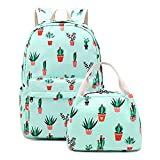 7. Cactus Teens Backpack Set Girls School Bags, Bookbags with Lunch Bag Elementary Middle School Womens College