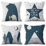 HEYHOUSENNY Decorative Throw Pillow Covers,4 Packs Square Throw Pillow Covers for Chair, Deco Indoor Outdoor,18 x 18 inches(Cartoon Beer,Star,Mountain)