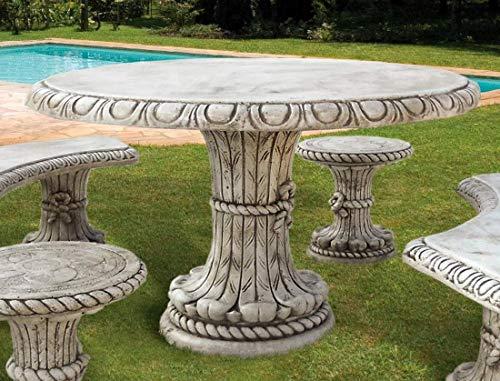 pompidu-living Steintisch Friuli - Runder Steintisch für den Garten - Aus witterungsbeständigem Steinguss - Wetterfester Gartenmöbel Tisch, weiß Ø 130