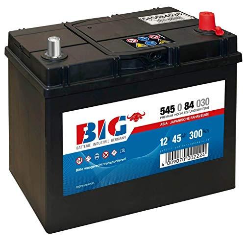 BIG ASIA Autobatterie 12V 45Ah Starterbatterie 54584 Pluspol rechts Dünnpol 40Ah