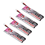 4pcs 520mAh 1S LiPo Battery 80C 3.8V HV LiHv Battery JST-PH 2.0 PowerWhoop mCPX Connector Upgraded for Inductrix FPV Plus EMAX Tinyhawk Micro FPV Racing Drone xt60 for Drone