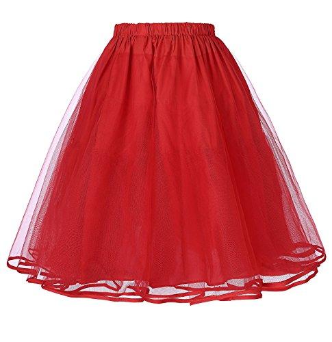Belle Poque 1950 rot Vintage Petticoat Reifrock Unterrock Underskirt Crinoline für Rockabilly Kleid XL BP229-3
