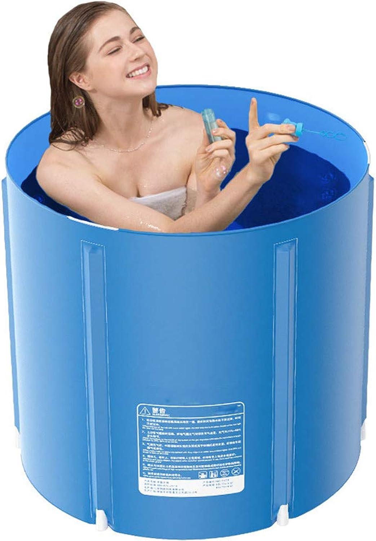 LHY BATHLEADER Faltbare Badewanne, Tragbare Badewanne für Erwachsene Spa-Nylon, Thermal Cycle Isolierte Kinderbecken, Blau, 65  70 cm