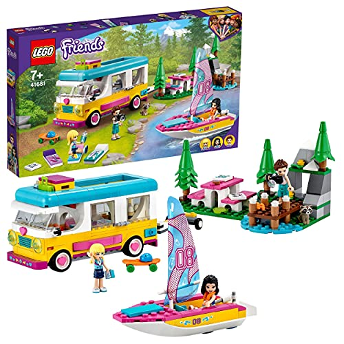 LEGO 41681 Friends Forest Camper Van and Sailboat Camping Adventure Building Set with Boat Toy and Raccoon Animal Figure