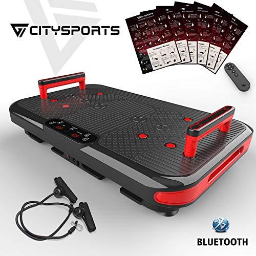 CITYSPORTS Fitness Vibrationsplatte CS-600 Bluetooth-Vibrationsplattform, 50 Frequenz + 2 integrierte Handgriffe, 3 Vibrationsmodi mit Haltungshinweisen und professionellem Benutzerhandbuch