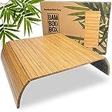 BAM BOO BOX Bandeja de Bambú para Sofá – Posavasos para Reposabrazos para Bebidas y Aperitivos – Bandeja para Reposabrazos de Madera Maciza