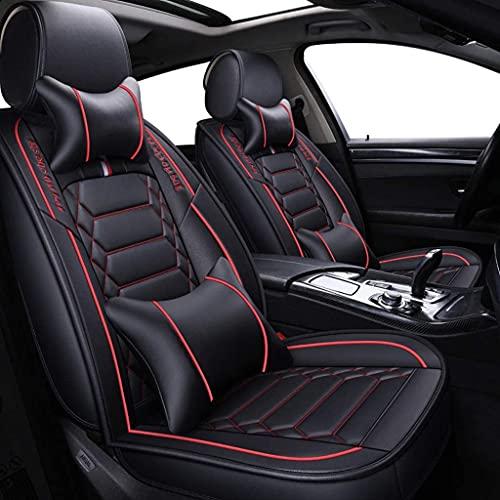 Asientos Fundas universales de cuero para asientos de automóvil, Fundas para asientos Conjuntos de lujo, Compatible con fundas para asientos de automóvil estilo Airbag, J(Size:5座套和坐垫,Color:Rojo negro)