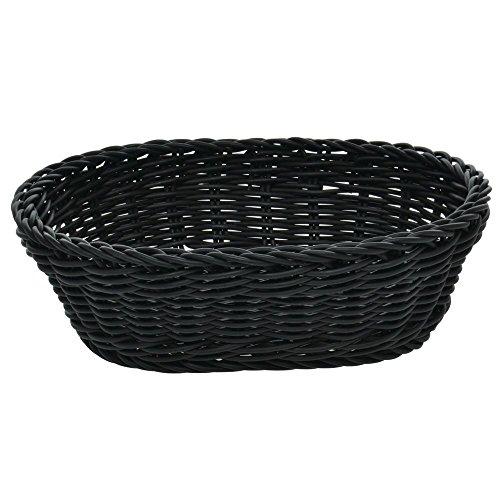 Wicker Bread Basket Black Oval - 10-1/8'L x 7-7/8'W x 3-1/8'H