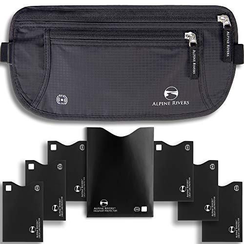 Alpine Rivers Geldgürtel – RFID-blockierend, Premium-Qualität mit 7 RFID-Hüllen, Deluxe Schwarz Premium (Schwarz) - AR-RFIDMB0CB