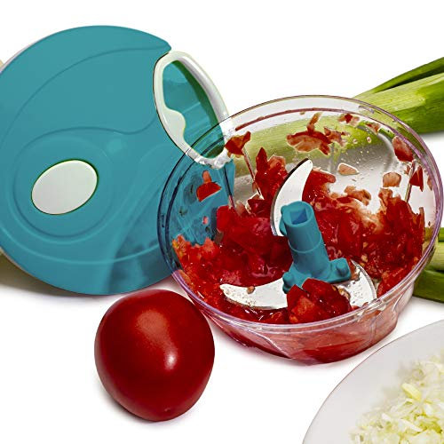 BERELA HOME Mini Picadora Manual Xtrem -3, Picadora Manual de Verduras y Alimentos de 500ml, Cortador de verdura con 3 Cuchillas de Acero Inoxidable con Base Antideslizante