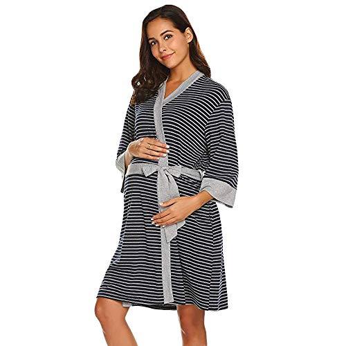 Bmeigo Bata de Trabajo para Mujeres Camisón de Maternidad Embarazo Enfermería Lactancia Materna A Rayas Vestido de Ropa de Dormir