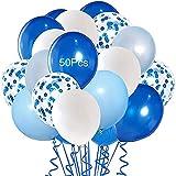 50Pcs Globos Fiesta, Decoraciones de Fiesta de Cumpleaños, Juego de Globos Azules, Globos de Látex, Globos Confeti,Niño Bautizos, Fiesta de niño y niña,Bodas Aniversario Graduacion Fiesta.