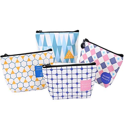 Tinmall 4 Stück Canvas kleine Täschchen mit Reißverschluss, Mini Portemonnaie für Frauen Kinder, Mädchen Geldbörse mit Geometriemuster Münzbeutel Schlüsseltasche