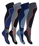 Sock Snob 4 Pares Hombre Mujer Niño y Niña Altos Lana Invierno Calcetines Esqui (39/45, SL202 Mens)