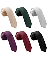 "AVANTMEN Mens Slim Tie 2.4"" Ties Set 1&6 Pack Wholesale Solid 6cm Skinny Neckties for Men (6 Pack-Plum Purple, BurRed, Black, Champagne, HunterGreen, Sliver)"