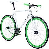 Galano 700C 28 Zoll Fixie Singlespeed Bike Blade 5 Farben zur Auswahl, Rahmengrösse:59 cm, Farbe:weiss/grün