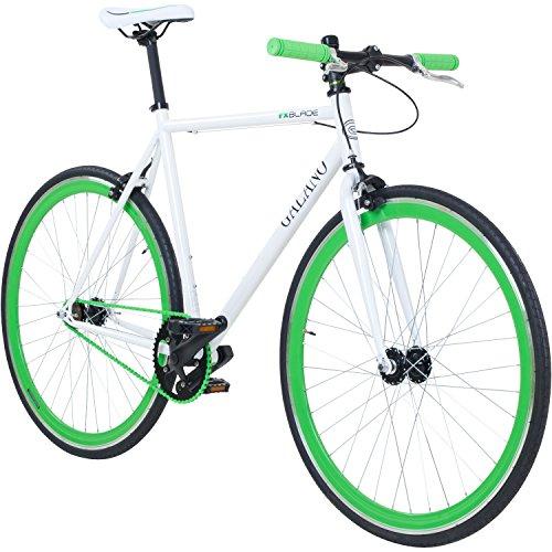 Galano 700C 28 Zoll Fixie Singlespeed Bike Blade 5 Farben zur Auswahl, Rahmengrösse:56 cm, Farbe:Weiss/grün