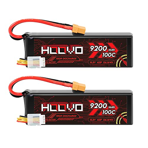 HOOVO 4S Lipo Battery 9200mAh 14.8V 100C with XT90 Plug Metal Plates Soft Case for RC Truck Truggy Buggy Tank RC Car Racing Hobby (2 Pack)