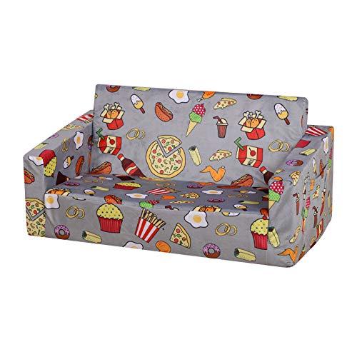 Kid Sofa Couch, Double Seat 2 in 1 Flip Open Children Foam Sofa for Ideal Kid Gift (Grey)