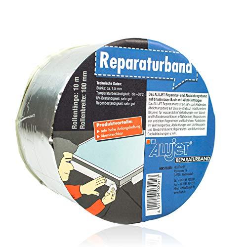 Alu Bitumenband selbstklebend 75 mm x 10 Meter, alukaschiertes Reparaturband aus dauerelastischem alterungsbeständigem Bitumen für Innen- & Außenbereich, Bitumenklebeband schwarz für Dach & Fassade