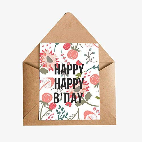 InstaNote Happy Birthday Greeting Cards (White Textured Floral)