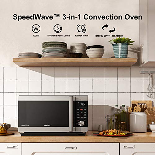 Galanz GSWWA16S1SA10 3-in-1 SpeedWave with TotalFry 360, Microwave, Air Fryer, Convection Oven with Combi-Speed Cooking, 1.6 Cu.Ft/ 1000W, Stainless Steel, Cu. Ft