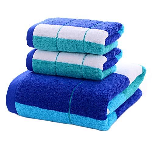 LLEH Conjunto 3 Piezas de algodón Toalla Ultra Suave de Rayas Toalla de baño Set - 1 Toalla de baño, 2 Toallas de Mano - Super absorbentes,Azul