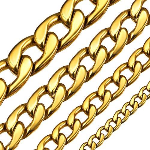 ChainsHouse Espejo Pulido Cadena Cubano para Colgantes Hombres Mujeres, Collar de Coleccion 5/9/12/15mm de Ancho, 46-76cm de Largo Disponibles, Color Oro/Negro/Platino
